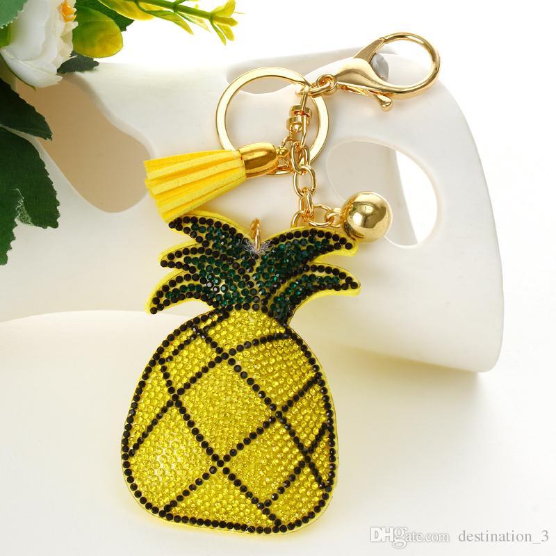 Mode heißer Verkauf gelbe Ananas Anhänger Schlüsselanhänger Tasche ZubehörIce Leder Quaste Auto Keychain für Frauen Handtasche Schlüsselanhänger