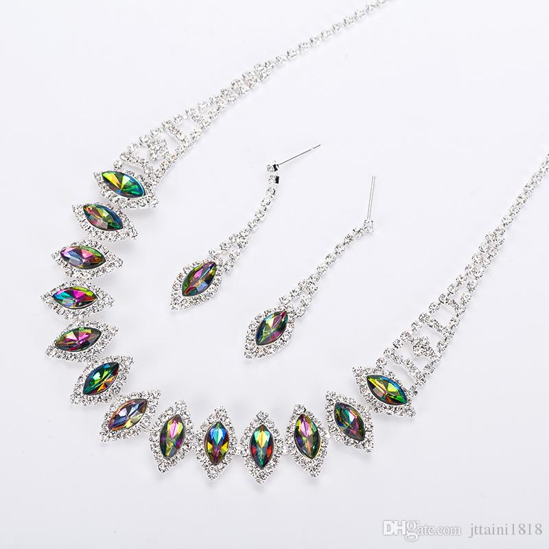 2017 New silvery Plated Multicolor Austrian Crystal Chain Necklace + Earrings Jewelry Sets Free shipping Women Jewellery