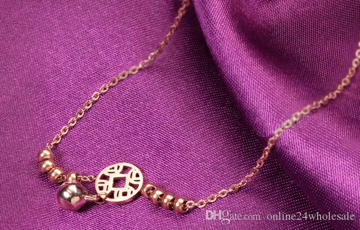 حار ليتل بيل خلخال سوار روز الذهب التيتانيوم الصلب النساء فتاة عاشق بيرفوت خلخال الأزياء القدم سلسلة مجوهرات