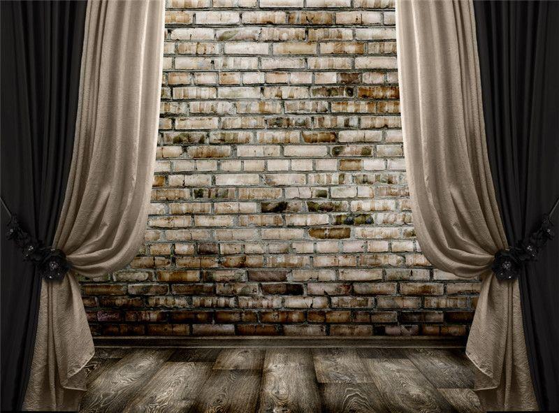 Black Nude Curtain Stage Fotografia Backdrops Parede De Tijolo Piso De Madeira Estúdio Fundos Vintage Photo Booth Papel De Parede 10x8 pés