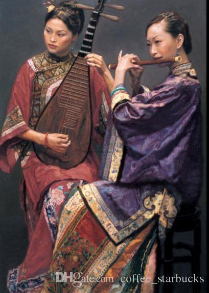 Chinese ancient noblewoman seated with fan,Hand-painted portrait Art Oil painting On High Quality canvas,Multi sizes Available P002