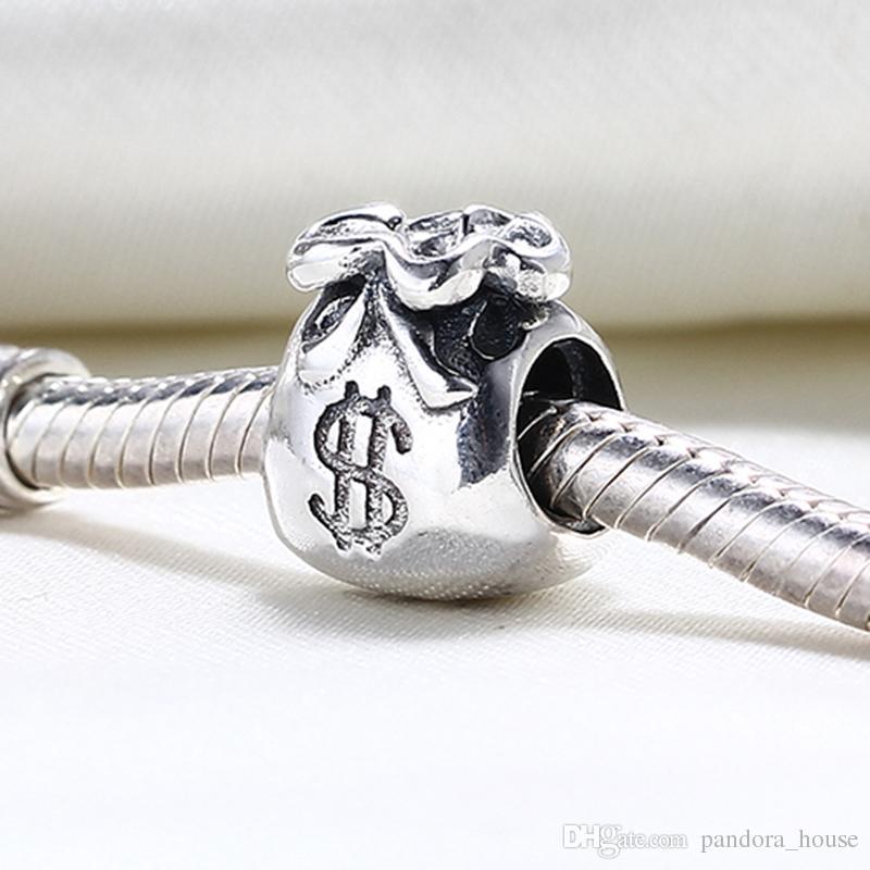 Vente en gros de 925 Sterling Silver non plaqué argent sac de charmes européen perles Fit Pandora Snake Chain Chaîne Bracelet DIY Bijoux