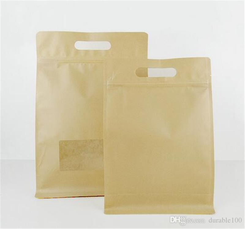 Paper Bag Kraft Color Retail With Self Locking Zipper Transparent Window