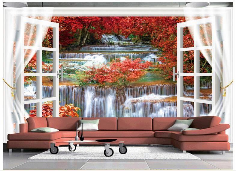 3D photo wallpaper custom 3d wall murals Beauty TV setting wall outside the window 3d living room wall decor