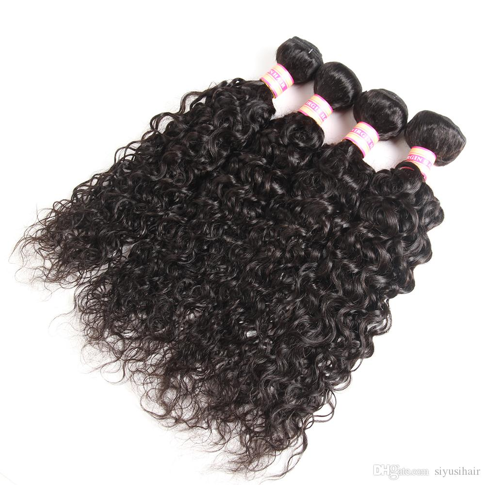 Manojos del pelo de la Virgen de la India Húmedo y ondulado Armadura del cabello humano Onda suelta Onda profunda Onda de agua Extinción del cabello rizado y rizado