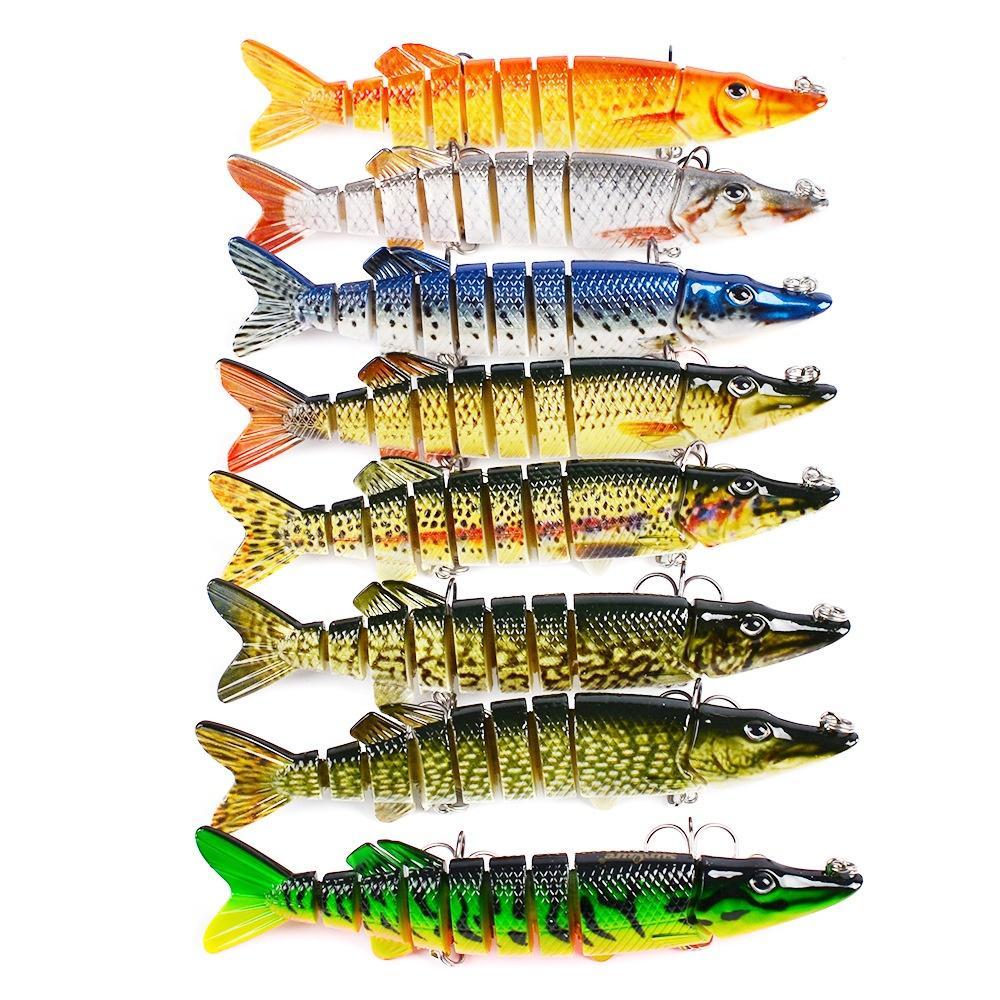 """5 """"/ 12.5 cm 20g Lifelike Multi-articulado 9-segmento Pike Muskie Isca De Pesca com Gancho Agudos Swimbait Hard Bait"""