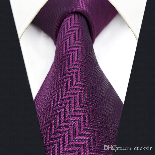 C11 보라색 단단한 실크 남성 넥타이 넥타이 웨딩 클래식 넥타이 남성 드레스 액세서리 Hanky 여분의 긴 크기
