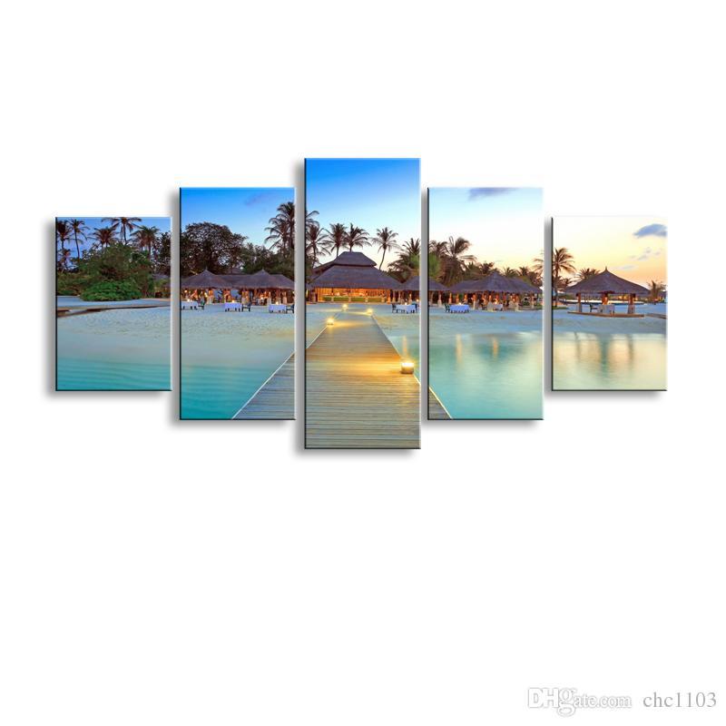 5 Stücke High-Definition-Druck Strand Leinwand Ölgemälde Poster und Wandkunst Wohnzimmer Bild PL5-198