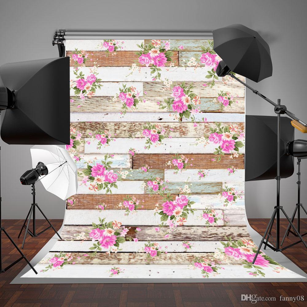 5x7ft (150x200cm) 회색과 흰색 나무 벽 사진 배경 핑크 꽃 배경 아기 사진을위한 배경 화면
