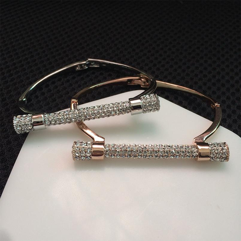 Cristal de luxo ferradura manguito pulseiras marca pulseiras de prata de ouro cor mulheres bijoux strass braço manguito pulseira feminina