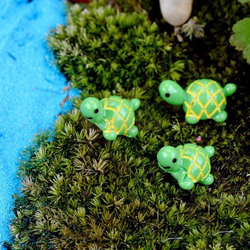 2020 Green Tortoise Fairy Garden Miniatures Turtle 1x2cm Gnomes