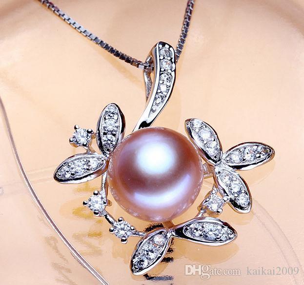 Venta al por mayor venta caliente femenina 10-11mm oblata collar de perlas naturales colgante DZ0208