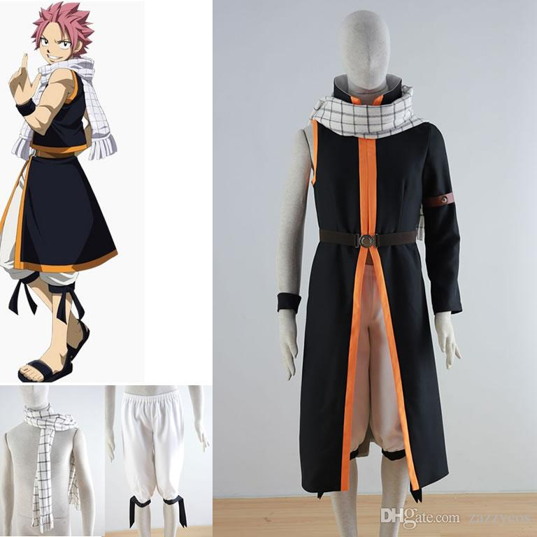 Anime Fairy Tail Natsu Dragneel Negro Hombres Cosplay