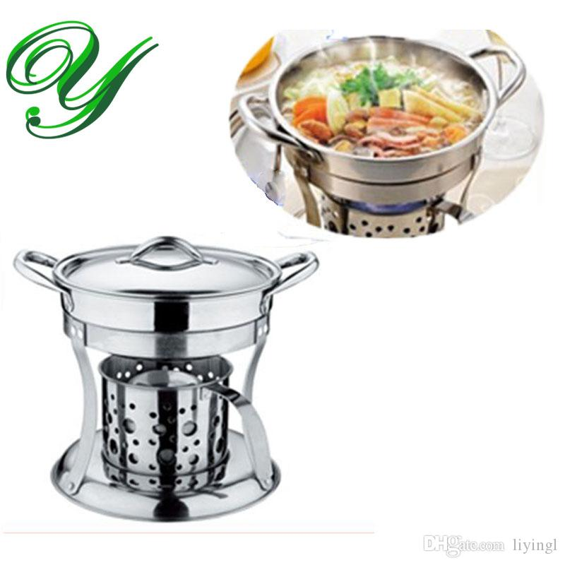 Fogão panela quente conjunto de fogão líquido Chafing Prato potes aquecedor que serve suporte inoxidável titular 18 cm Buffet pan server Bandeja de Comida Forno de aquecimento