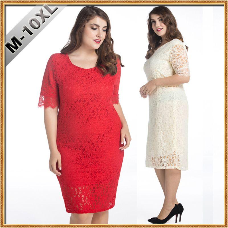 2019 10XL Big Size Dresses Women Elegant Square Neck Lace Prom Dress Plus  Size For Fat Ladies Women Fashion Wear From Donnatang240965, $17.88 | ...
