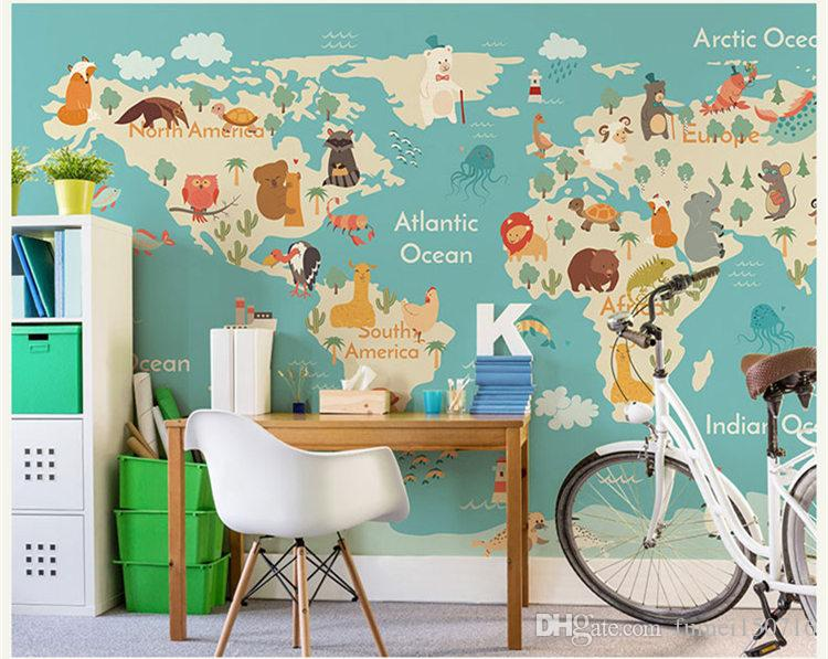 Cartoon Animal World Map Wallpaper Children Room Boys And Girls
