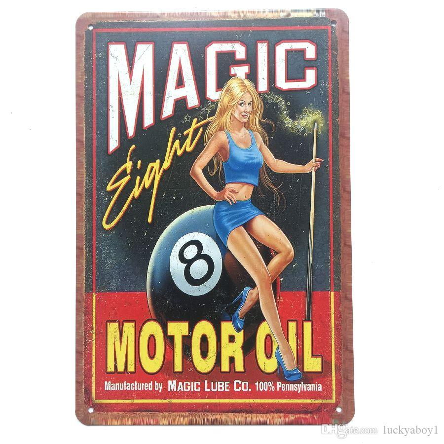 Magic Motor Oil Retro Vintage Metal Tin sign poster for Man Cave Garage shabby chic wall sticker Cafe Bar home decor
