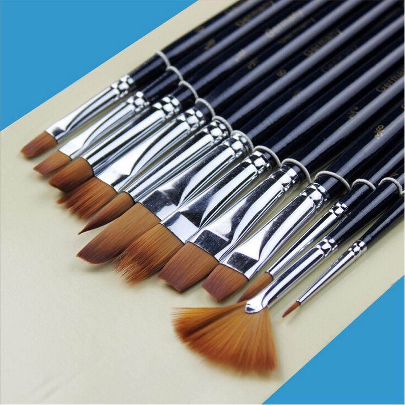 Paint Brushes - 12pcs/set Watercolor Gouache Acrylic Art Craft Artist Oil Painting Drawing Paint Brush Art Supplie