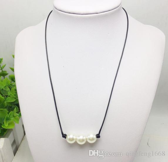 Nouveau gros 3 perles simples collier de perles artificielles main en cuir corde A396