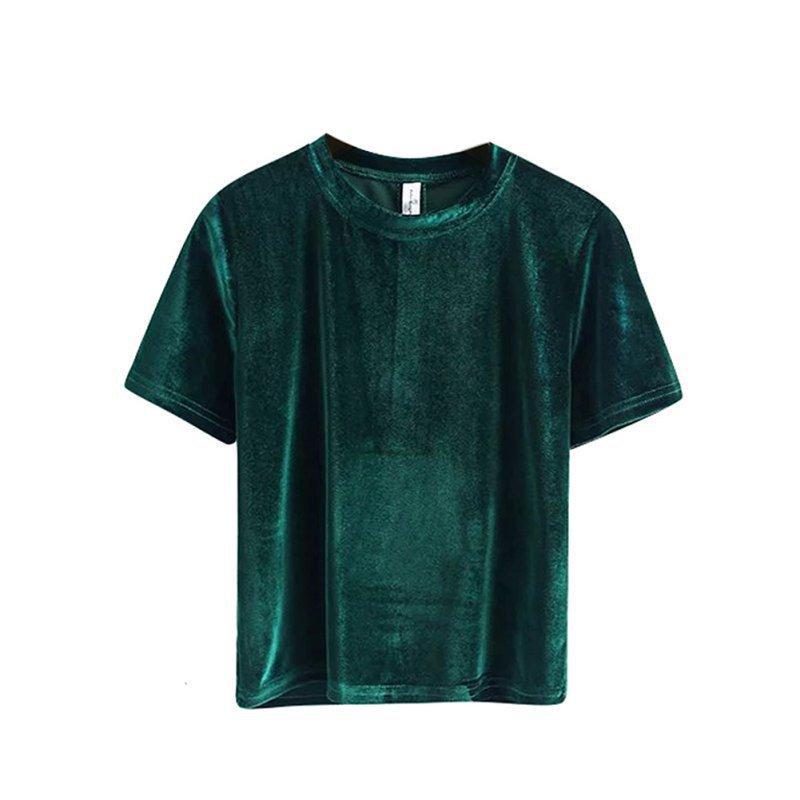 Wholesale-Vintage T-shirt en velours ras du cou 2017 Femmes TShirt à manches courtes Vêtements d'été pour femmes