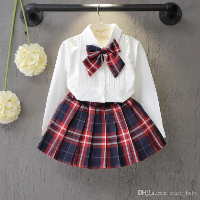 AutumnSpring New School Style Fashion Baby Girls Dress Set Top de camisa blanca con nudo a cuadros Tie + Plaid Mini falda 3 piezas Conjuntos 3-7T