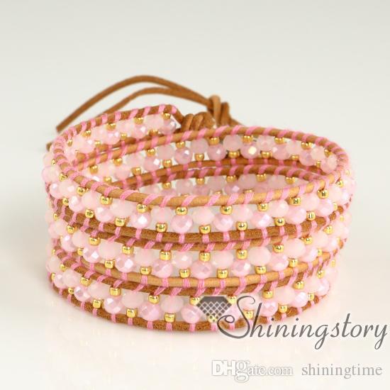 Abrigo de pulseras de cuero (pulseras) para mujeres Abrigo de cuero personalizado (pulseras) Pulseras de cuentas hechas a mano Pulseras de cuero austra