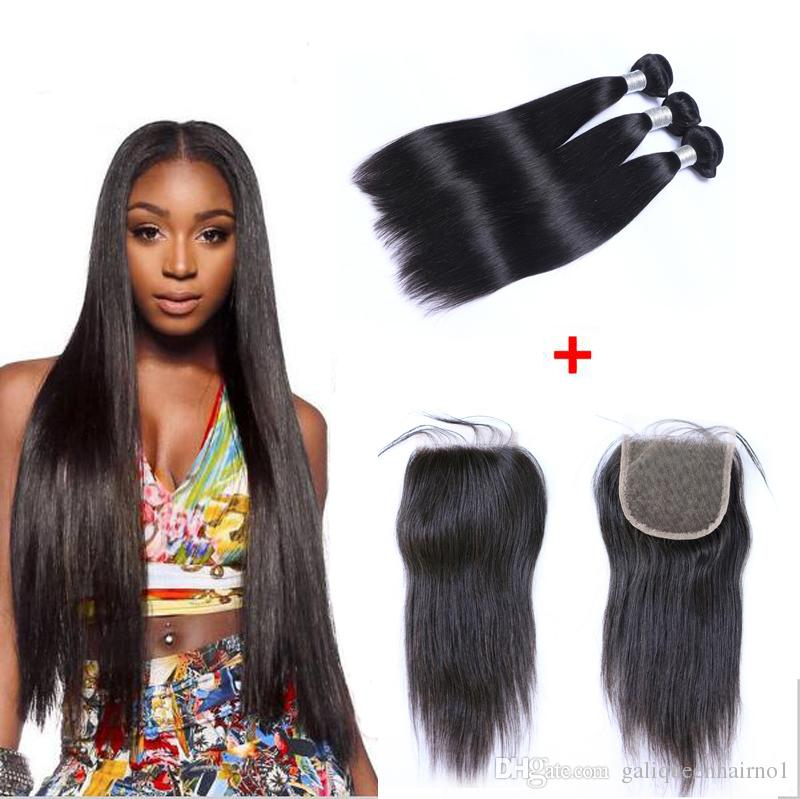 Brazilian Straight Human Virgin Hair Weaves With 4x4 Lace Closure Bleached Knots 100g/pc Natural Black Color 1B Double Wefts Hair Extensions