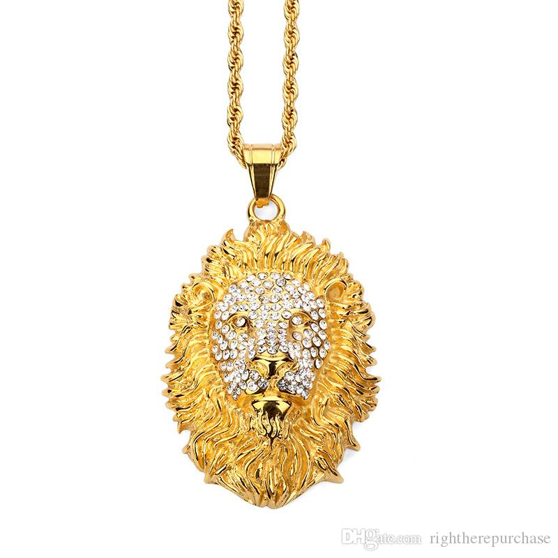 2d772570b237b Fashion Mens Hip Hop Gold Plated Necklaces Lion Head Pendent Studded  Crystal Stainless Steel Design Filling Pieces Men Jewelry