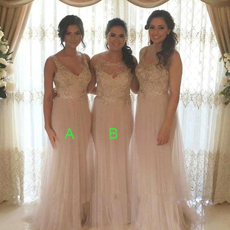Light Champagne Bridesmaids Dresses 2018