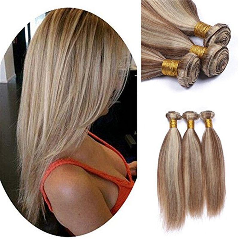 8A Brown Blonde Ombre extensiones de cabello virgen brasileña sedoso recto 3 piezas 8/613 mezcla de color piano 100% armadura de cabello humano 3 paquetes