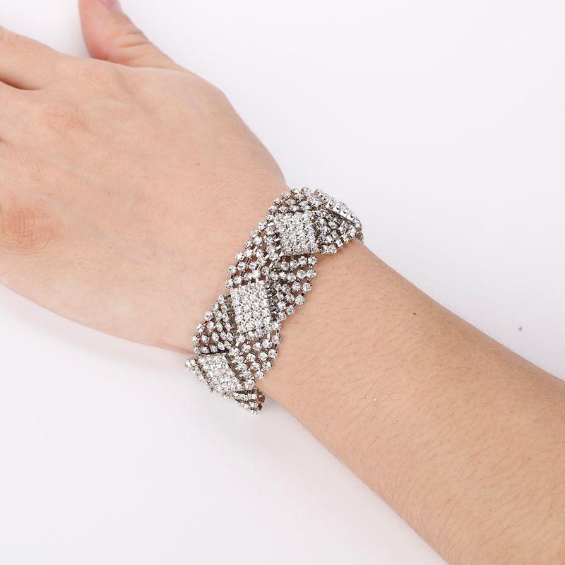 I gioielli sposa strass argento placcato braccialetti di cristallo per le donne strass polsino bracciali braccialetti gioielli da sposa