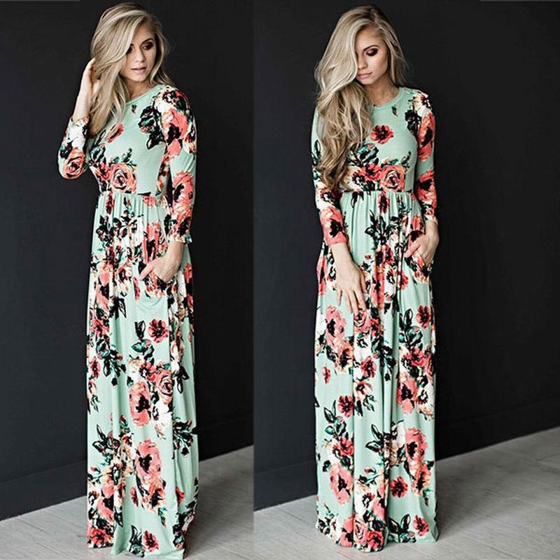 82716b3d09 2018 New Maxi Dresses For Womens Boho Plus Size Ladies Casual Summer Beach  Dress Floral Chiffon Long Evening Prom Party Cocktail