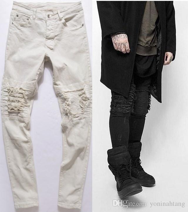 jean Livraison gratuite en gros représentent les vêtements moto rock noir gris hommes concepteur mode affligée déchiré jeans denim biker maigre