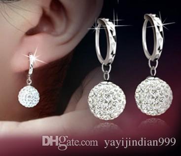 Boucles d'oreilles de femme en forme de boule de cristal magnifique (4.1)