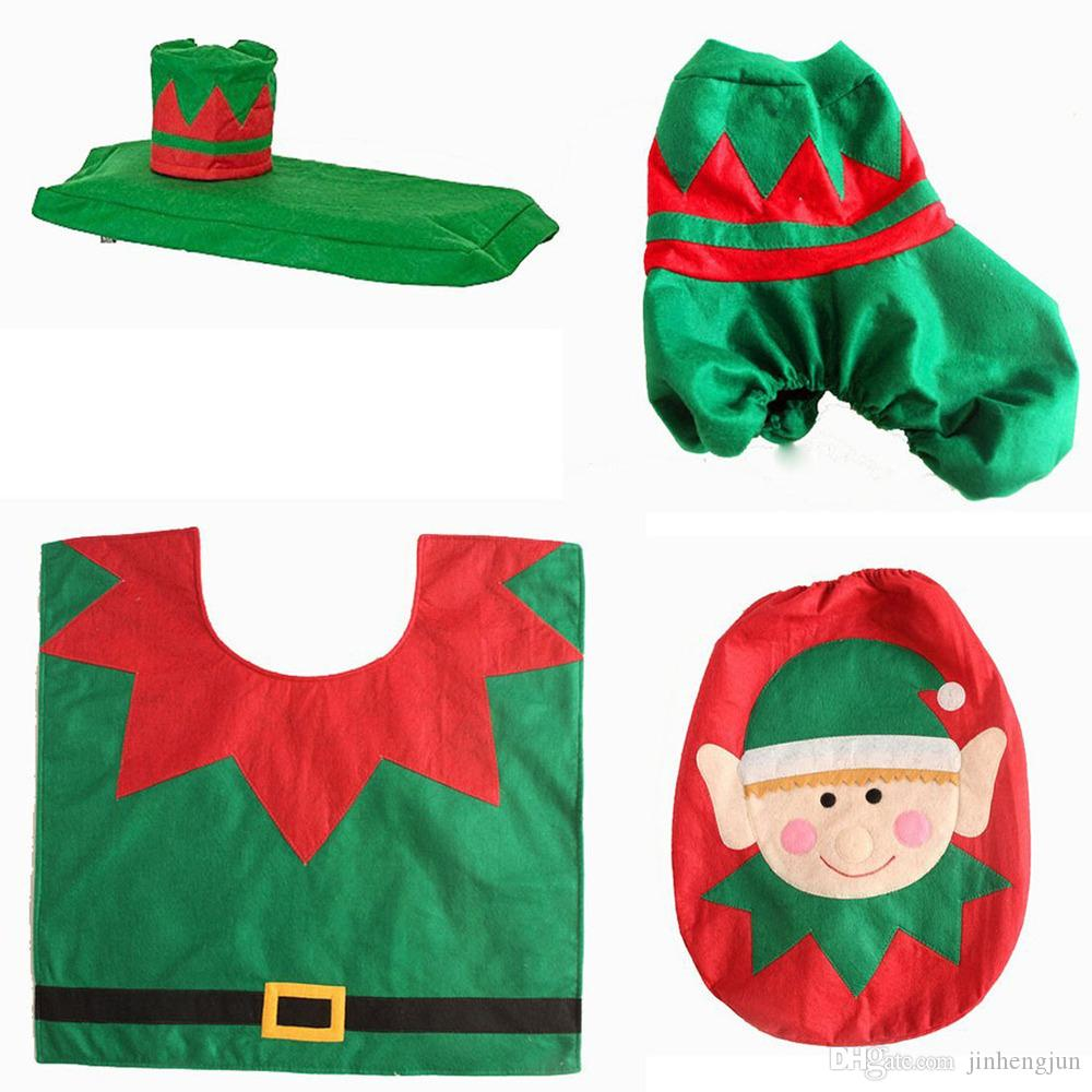 2017 Cartoon Elf Toilet Seat Cover Christmas Decorations Toilet