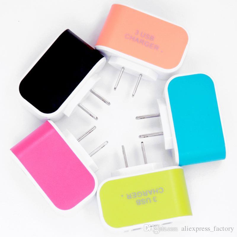 Carregador de parede Adaptador De Viagem Para O Iphone 7 Colorido Casa Plug LED Carregador USB Para Samsung S6 3 portas usb carregador No Pacote