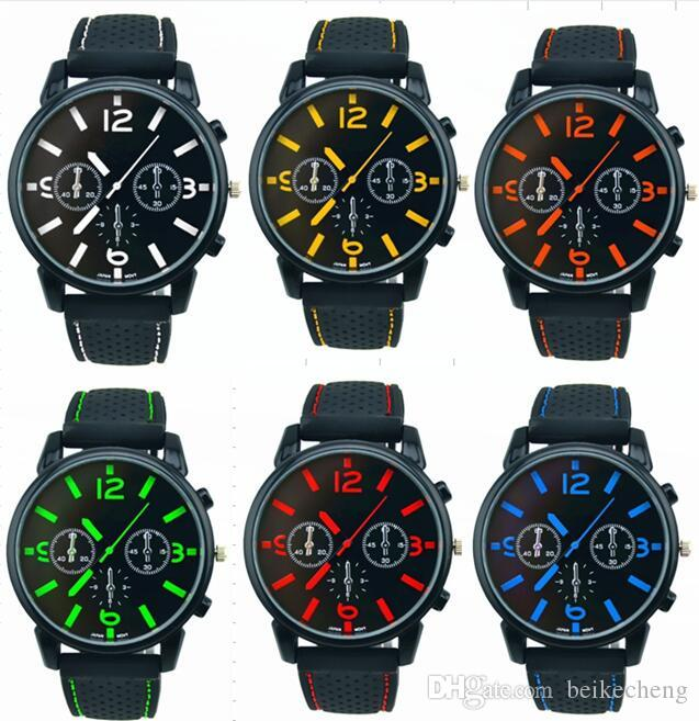 Wholesale 500pcs/lot Mix 6Colors Men Causal SPORT Military Pilot Aviator Army Racing Silicone GT Watch RW016