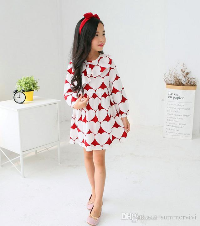 valentines day dress 2017 spring new girls falbala collar love heart printed dress kids long sleeve
