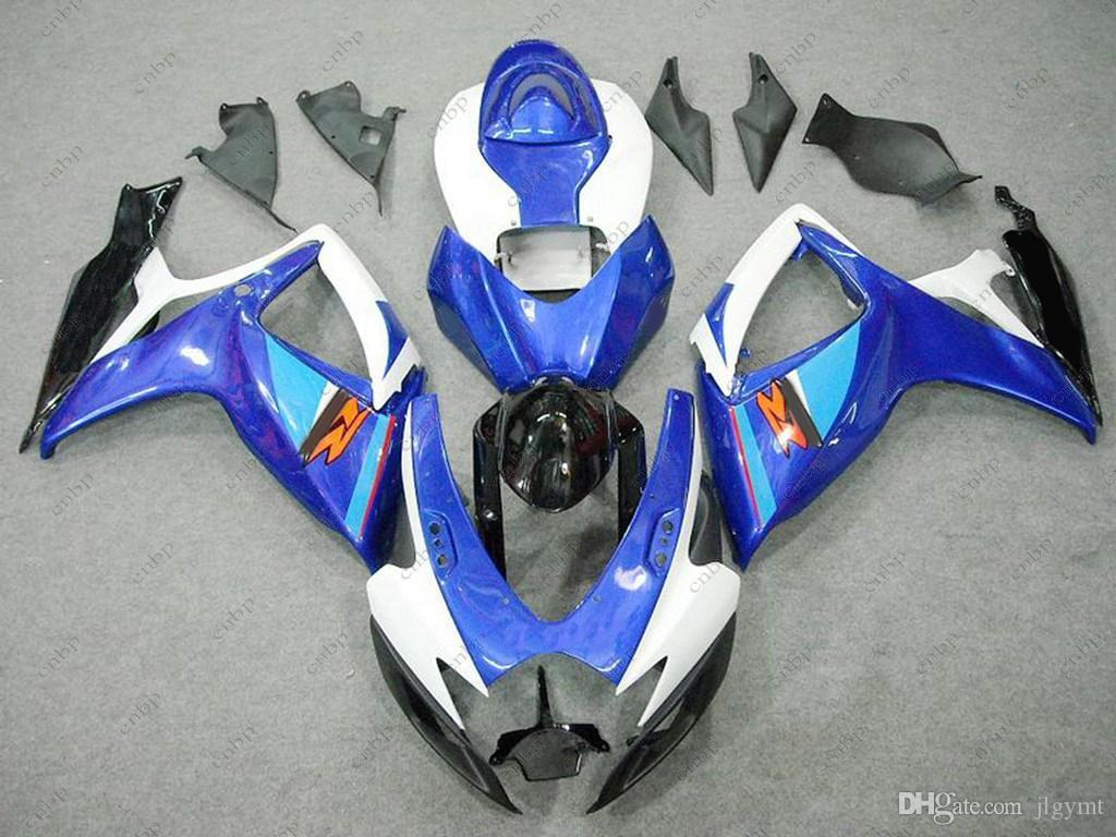 Carenados de plástico GSX R600 07 Carrocería GSX-R750 2007 Kits de carenado blanco azul GSX-R600 06 2006 - 2007 K6