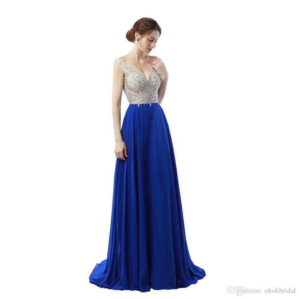 Compre Vestido De Noche De Diamantes De Imitación Vestidos De Noche Largos Elegantes 2019 Vestido De Fiesta Sin Espalda Con Cuello En V Atractivo