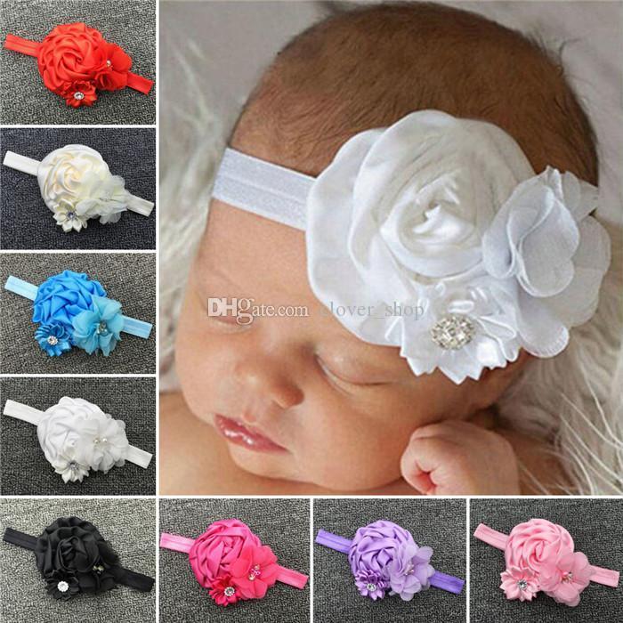 Лучшие продажи ребенок новорожденный малыш девушка детские аксессуары оголовье волос группа цветок кружева полиэстер милый 8 цветов