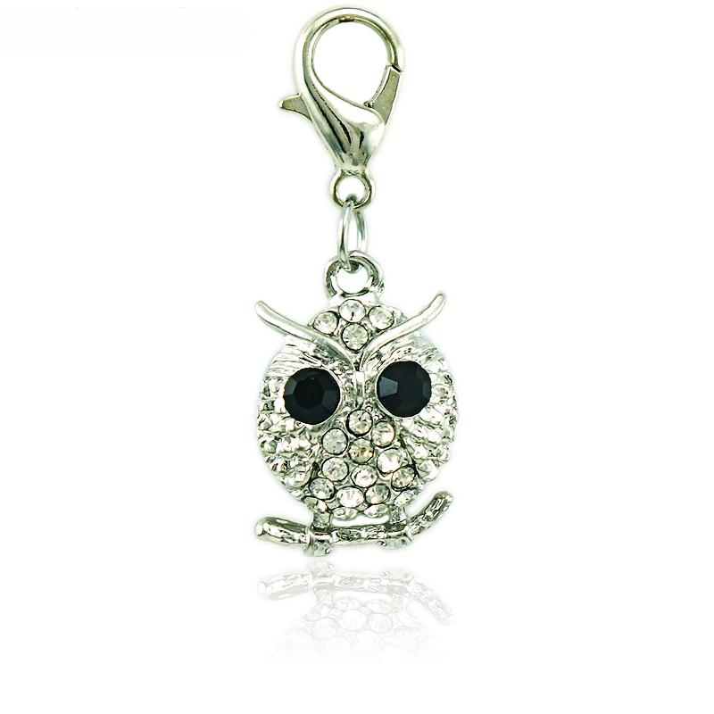 Wholesale Floating Lobster Clasp Charms White Rhinestone Owl Animal Pendants DIY Charms For Jewelry Making Accessories