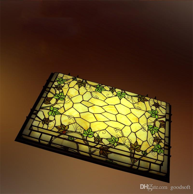 Tiffany stained glass ceiling lamp classic rectangle led grapevine tiffany stained glass ceiling lamp classic rectangle led grapevine ceiling lamp living room bar corridor lightings mozeypictures Choice Image