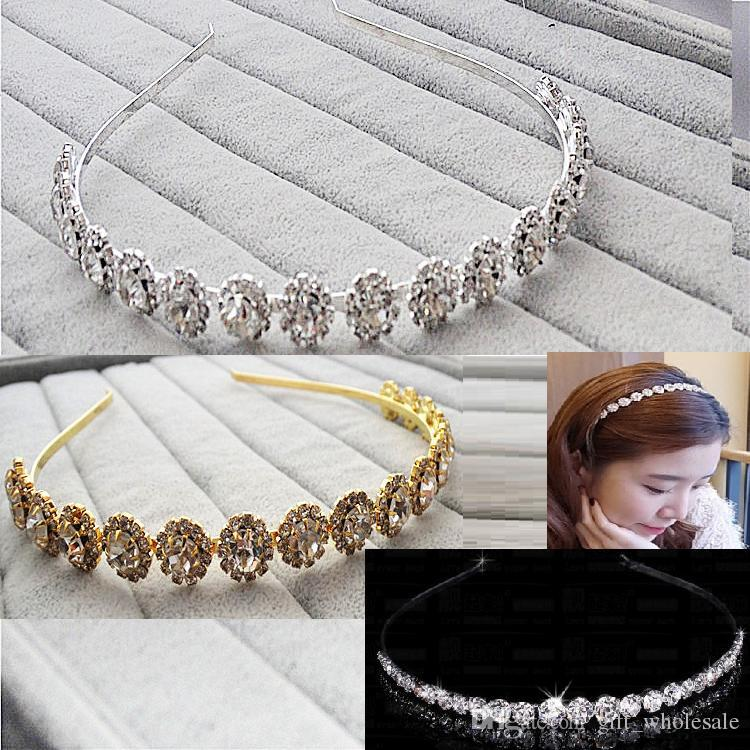 Sparking One Row Rhinestone Clear Round Flowers Crystal Tiara Headband for Wedding Party Hair Accessories Bridal Jewelry for kids gift