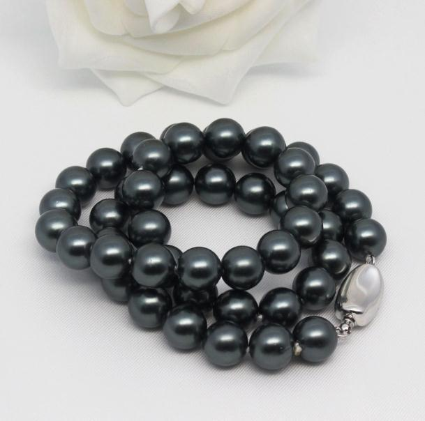 8mm Black South Sea Natural Shell Pearl Necklace 17 Inch 925 Silver Clasp