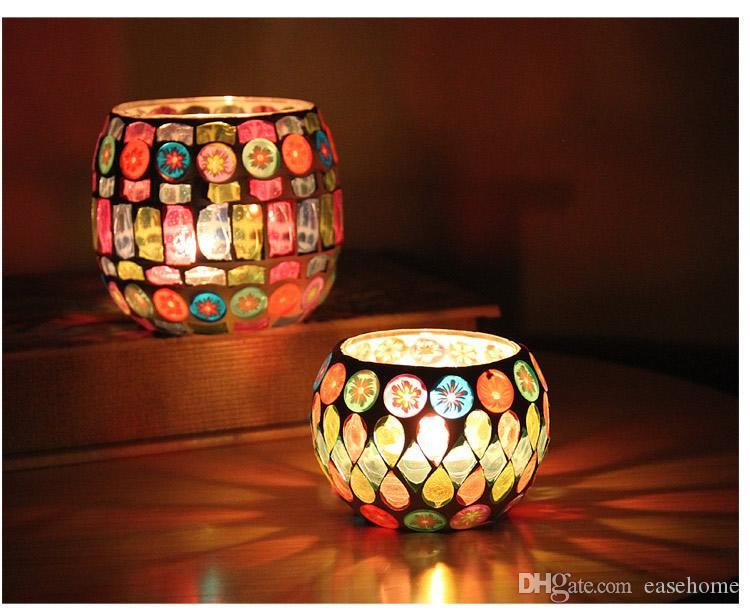 Freeshipping decoración del hogar nuevo diseño Mosiac portavasos de vidrio en 3 colores para la decoración del hogar