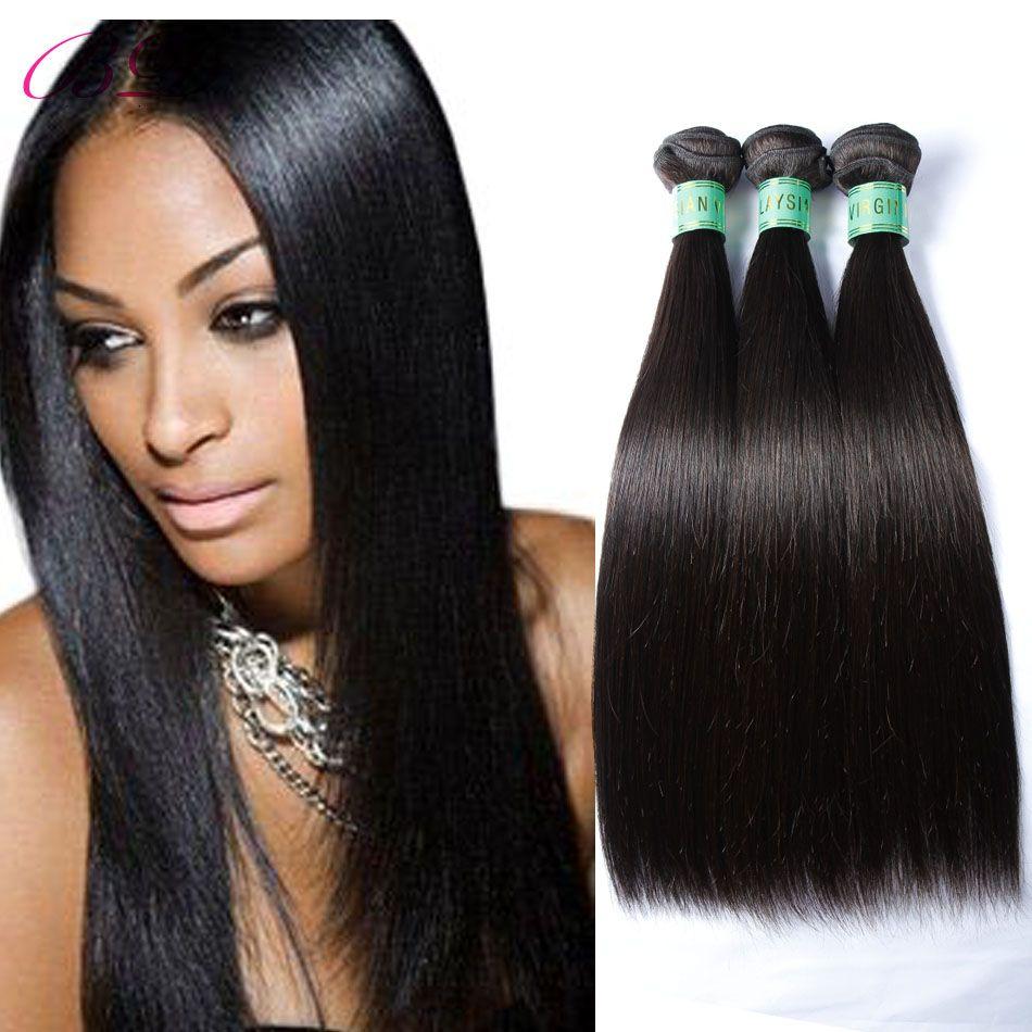 BD Silky Straight Human Hair Extensions 3 Bundles Natural Black Top Malaysian Straight Human Hair Weave