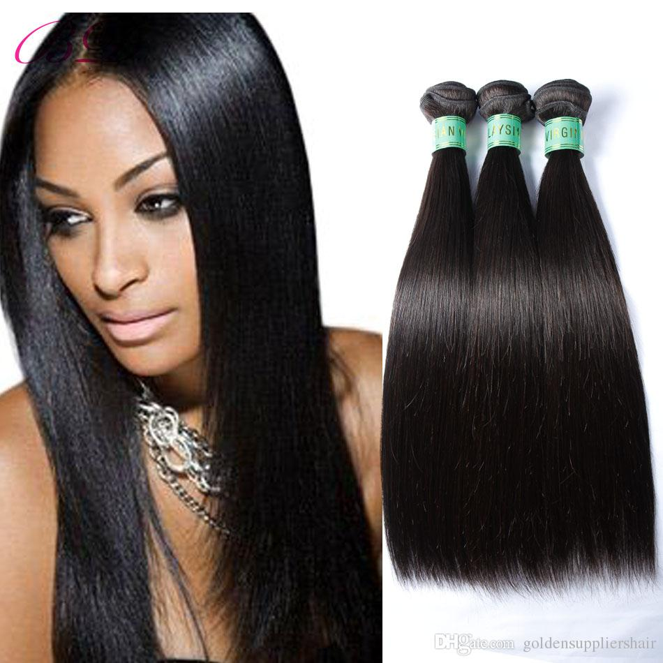 BD Silky Straight Human Hair Extensions 3 Bundles Natural Black Top Malaysian Straight Human Hair Weave
