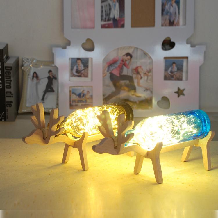Nordic ahşap geyik el yapımı cam şişe yaratıcı kabarcık havai fişek gece lambası tatil hediye