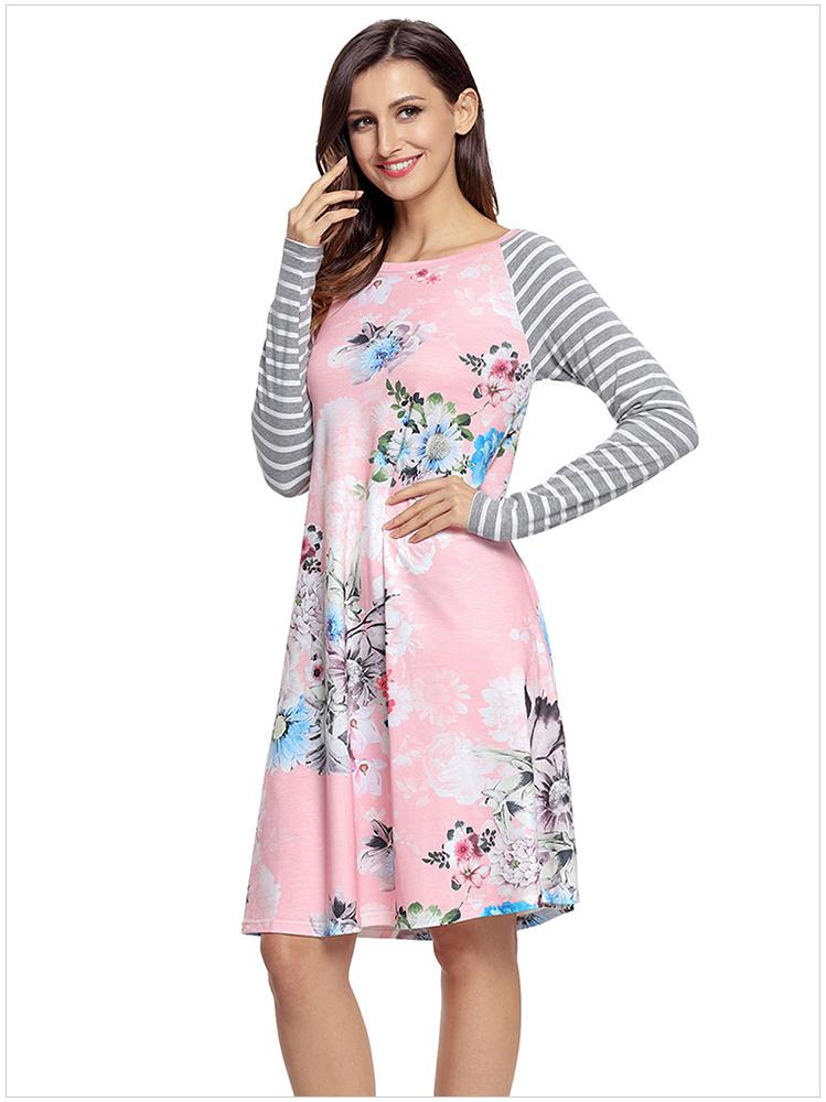Womens O-Collo manica lunga Flowery Patchwork Casual Club Party Abiti Vestidos Taglia: S M L XL XXL DLM61670